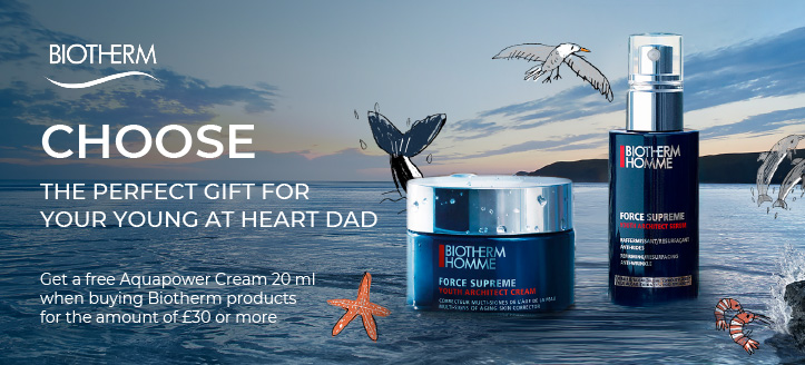Get a free Aquapower Cream 20 ml when buying Biotherm products for the amount of £30 or more