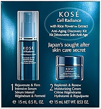 Fragrances, Perfumes, Cosmetics Set - KOSE Rice Power Extract Cell Radiance Anti-Aging Discovery Kit (cr/15ml+serum/15ml)