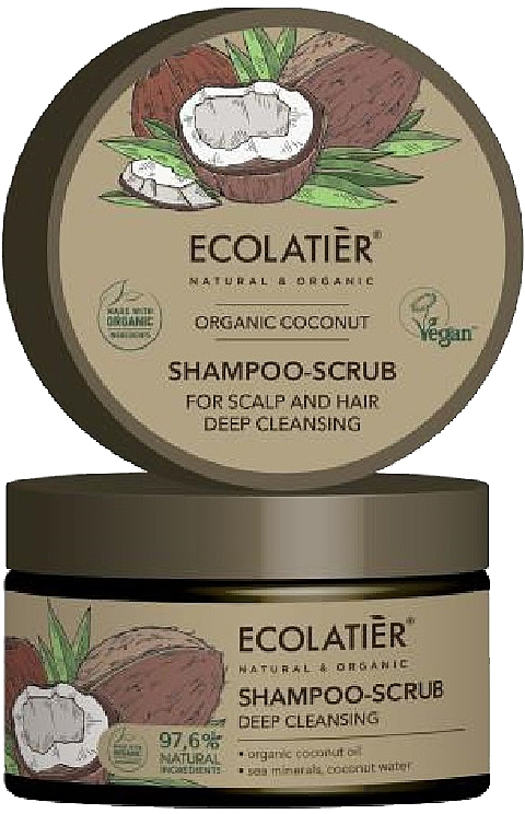 "Hair Shampoo-Scrub ""Deep Cleansing"" - Ecolatier Organic Coconut Shampoo-Scrub"