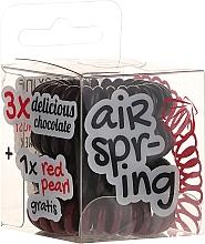 Fragrances, Perfumes, Cosmetics Elastic Hair Bands, chocolate+red, 4 pcs - Hair Springs