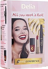Fragrances, Perfumes, Cosmetics Set - Delia Cosmetics All You Need Is Red (lip/stick/4g + mascara/12ml + n/polish/11ml)
