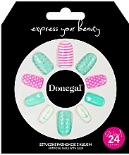Fragrances, Perfumes, Cosmetics Fake Nails Set with Adhesive, 3055 - Donegal Express Your Beauty