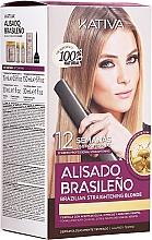 Fragrances, Perfumes, Cosmetics Blonde Hair Keratin Straightening Kit - Kativa Alisado Brasileno Straighten Blonde (shm/15ml + mask/150ml + shm/30ml + cond/30ml)