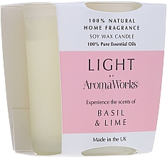 "Fragrances, Perfumes, Cosmetics Scented Candle ""Basil & Lime"" - AromaWorks Light Range Basil & Lime Candle"