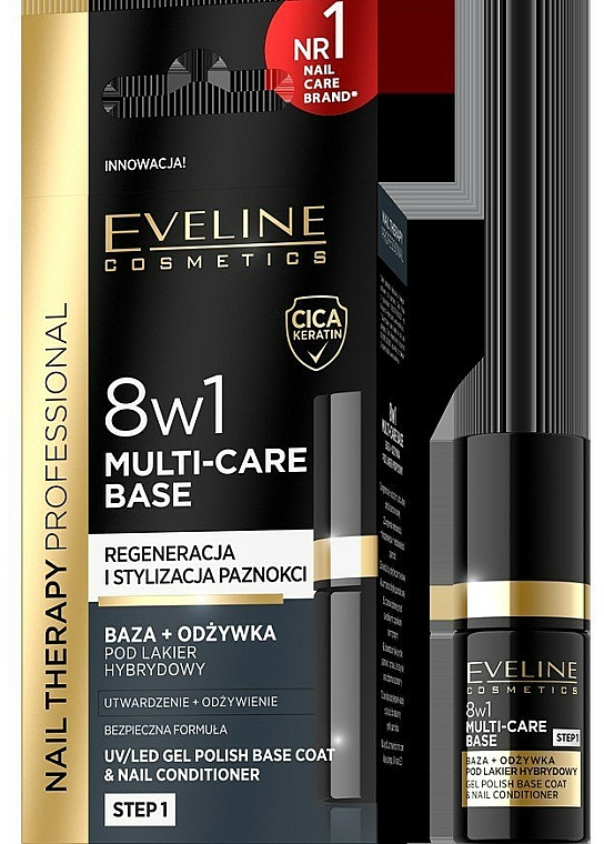 8-in-1 Conditioning Base Coat - Eveline Cosmetics Nail Therapy Professional 8 in 1 Multi-Care Base — photo N1