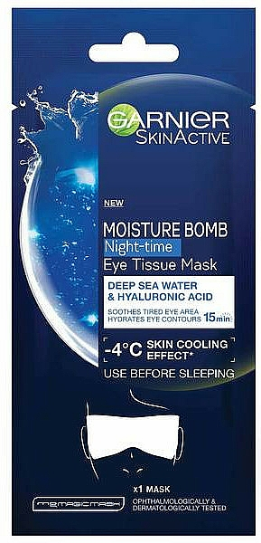 Moisturizing Eye Mask - Garnier Moisture Bomb Deep Sea Water and Hyaluronic Acid Mask