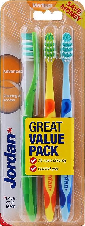 Toothbrush Medium, green, orange, blue - Jordan Advanced Medium Toothbrush — photo N1