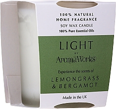 "Fragrances, Perfumes, Cosmetics Scented Candle ""Lemongrass & Bergamot"" - AromaWorks Light Range Lemongrass & Bergamot Candle"