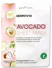 Fragrances, Perfumes, Cosmetics Facial Sheet Mask - Derma V10 Avocado Sheet Mask
