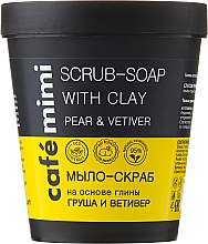 """Fragrances, Perfumes, Cosmetics Clay Scrub Soap """"Pear and Vetiver"""" - Cafe Mimi Scrub-Soap With Clay Pear & Vetiver"""