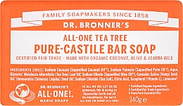 "Fragrances, Perfumes, Cosmetics Soap ""Tea Tree"" - Dr. Bronner's Pure Castile Bar Soap Tea Tree"