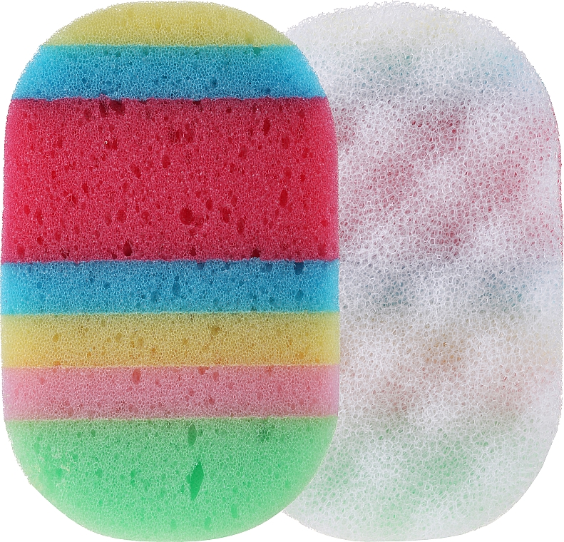Shower Sponge, oval, 499118, red-dark blue - Inter-Vion — photo N1