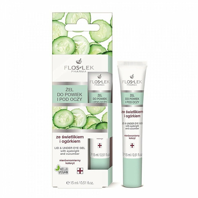 Lid and Under Anti-Aging Eye Gel with Eyebright and Cucumber - Floslek Lid And Under Eye Gel With Eyebright & Cucumber