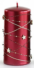 Fragrances, Perfumes, Cosmetics Decorative Candle, burgundy, 7x14 cm - Artman Christmas Garland