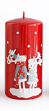Fragrances, Perfumes, Cosmetics Decorative Candle, red, 7x10 cm - Artman Reindeers