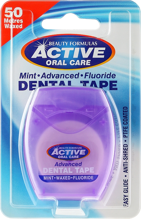 Extra Thin Mint & Fluorine Dental Floss - Beauty Formulas Active Oral Care Advanced Mint Waxed Fluor 50 m