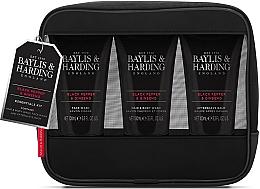 Fragrances, Perfumes, Cosmetics Set - Baylis & Harding Signature Men's Black Pepper & Ginseng Toiletry Bag (hair/body/wash/100ml+a/sh/balm/100ml+face/wash/100ml+acc)
