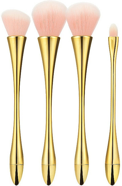 Professional Makeup Brush Set, 4 pcs, pink with gold - Tools For Beauty