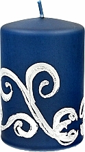 Fragrances, Perfumes, Cosmetics Decorative Candle, dark blue with ornament, 7x10cm - Artman Christmas Ornament