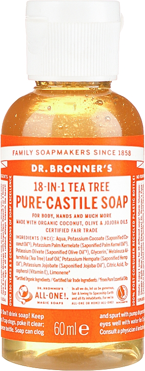"Liquid Soap ""Tea Tree"" - Dr. Bronner's 18-in-1 Pure Castile Soap Tea Tree"
