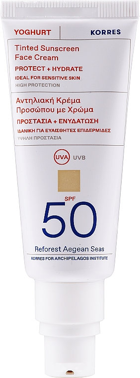 Tinted Sunscreen Face Cream - Korres Yoghurt Tinted Sunscreen Face Cream SPF50 — photo N1