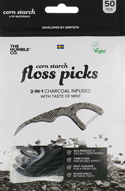 Dental Floss with a Handle, Black - The Humble Co. Dental Floss Picks