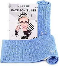 "Fragrances, Perfumes, Cosmetics Face Towels Travel Set, light blue ""MakeTravel"" - Makeup Face Towel Set"