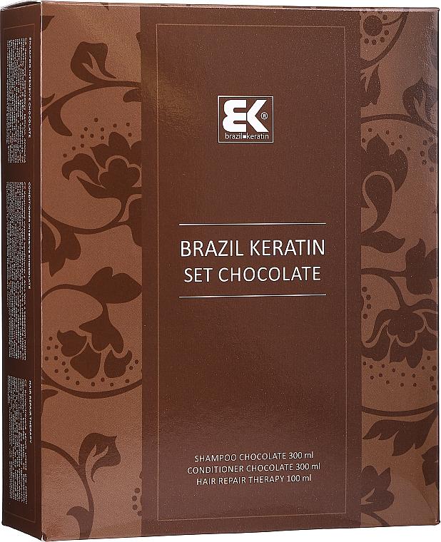 Set - Brazil Keratin Intensive Repair Chocolate (shm/300ml + cond/300ml + serum/100ml)