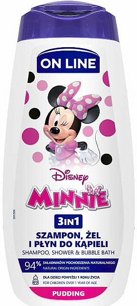 3-in-1 Shower Gel-Shampoo with Pudding Scent - On Line Kids Disney Minnie