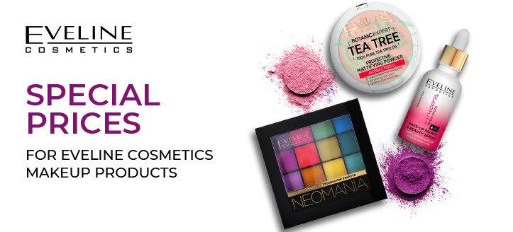 A discount on Eveline Cosmetics promotional range. Prices on the site are indicated with a discount