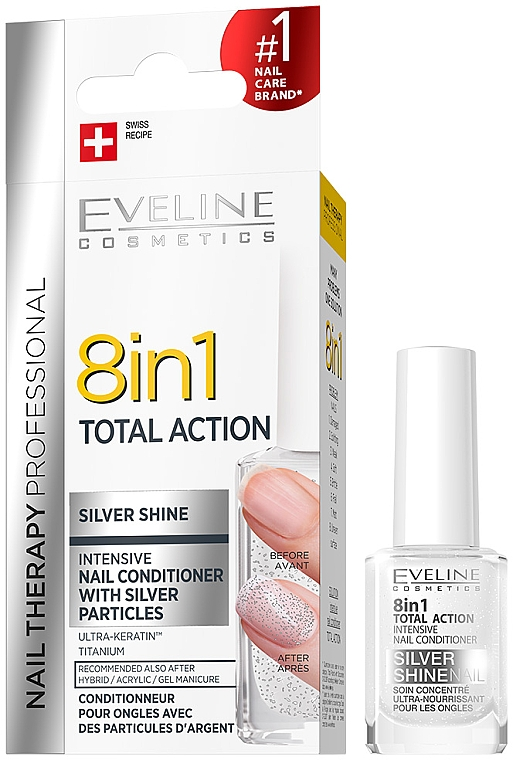 Nail Repairer 8in1 - Eveline Cosmetics 8in1 Silver Shine Nail Therapy
