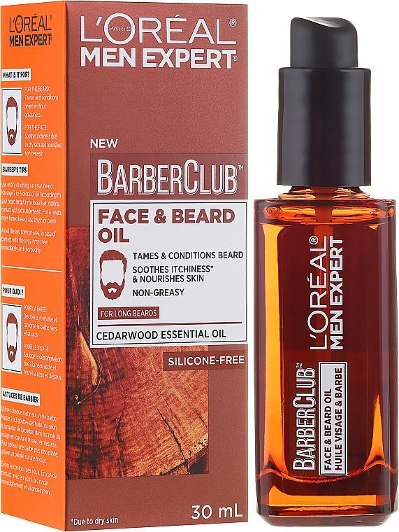 Face and Long Beard Oil - L'Oreal Paris Men Expert Barber Club Long Beard + Skin Oil
