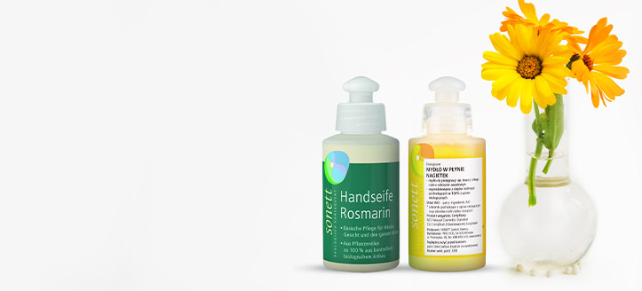 Buy Sonett products for the amount of £8 or more and get a free liquid soap to choose from: Rosemary or Caledula