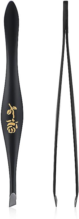 Pear-Shaped Beveled Eyebrow Tweezers, 499289, black - Inter-Vion Rose Around Pear