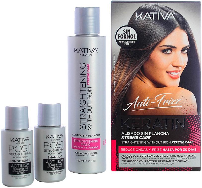 Set - Kativa Anti-Frizz Straightening Without Iron Xtreme Care (mask/150ml + shm/30ml + cond/30ml)