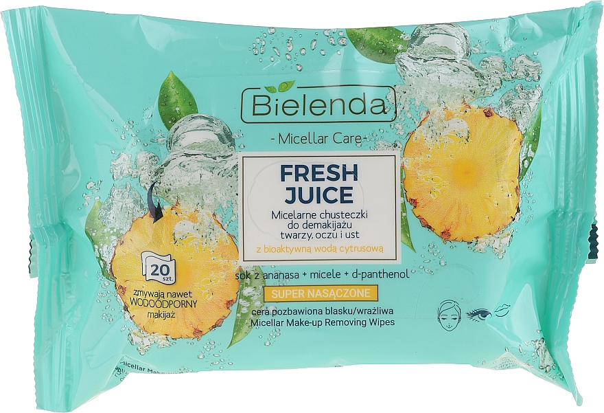 "Makeup Remover Wipes ""Pineapple"" - Bielenda Fresh Juice Micelar Care Make-up Removing Wipes"
