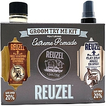 Fragrances, Perfumes, Cosmetics Set - Reuzel Extreme Hold Try Me Kit (h/pomade/35g + h/spray/100ml + shm/100ml)