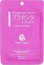 Fragrances, Perfumes, Cosmetics 'Placenta+Platinum Nano-Particles' Sheet Face Mask - Mitomo Essence Sheet Mask Placenta + Platinum