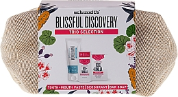 Fragrances, Perfumes, Cosmetics Set - Schmidt's Blissful Discovery (toothpaste/100ml + deo/58ml + soap/142g + bag)