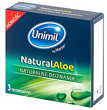 Fragrances, Perfumes, Cosmetics Condoms, 3 pcs - Unimil Natural Aloe