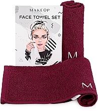 """Fragrances, Perfumes, Cosmetics Travel Facial Towel Set, burgundy """"MakeTravel"""" - Makeup Face Towel Set"""