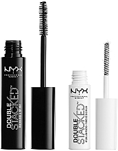 Fragrances, Perfumes, Cosmetics Eyelash Set (mascara 10 ml + base 0,9 ml) - NYX Professional Makeup Double Stacked Mascara (01-Black)