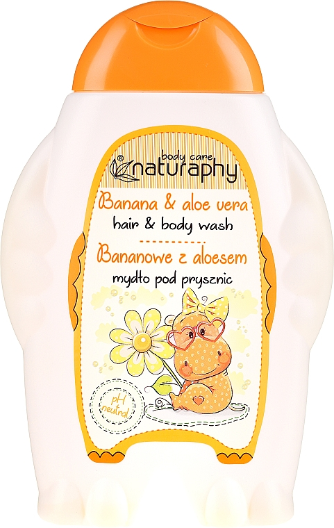 "Kids Shower Gel-Shampoo ""Banana & Aloe Vera"" - Bluxcosmetics Naturaphy Hair & Body Wash"