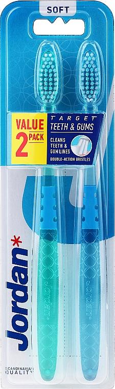 Toothbrush Soft, green-blue - Jordan Target Teeth Toothbrush