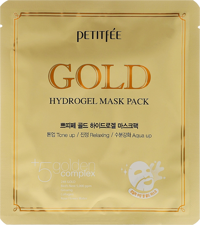 Hydrogel Face Mask with Golden Complex +5 - Petitfee&Koelf Gold Hydrogel Mask Pack +5 Golden Complex
