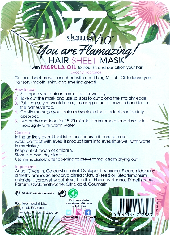 Flamingo Marula Hair Mask - Derma V10 Flamingo Print Hair Mask With Marula Oil — photo N2