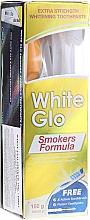 Fragrances, Perfumes, Cosmetics Set with Blue Brush - White Glo Smokers Formula (toothpaste/100ml + toothbrush + toothpicks)