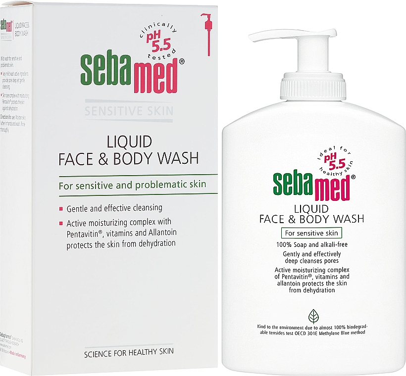 Cleansing Face and Body Lotion with Pump - Sebamed Liquid Face and Body Wash
