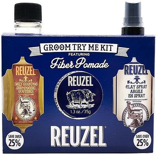 Set - Reuzel Fiber Try Me Kit (h/pomade/35g + h/spray/100ml + shm/100ml) — photo N1