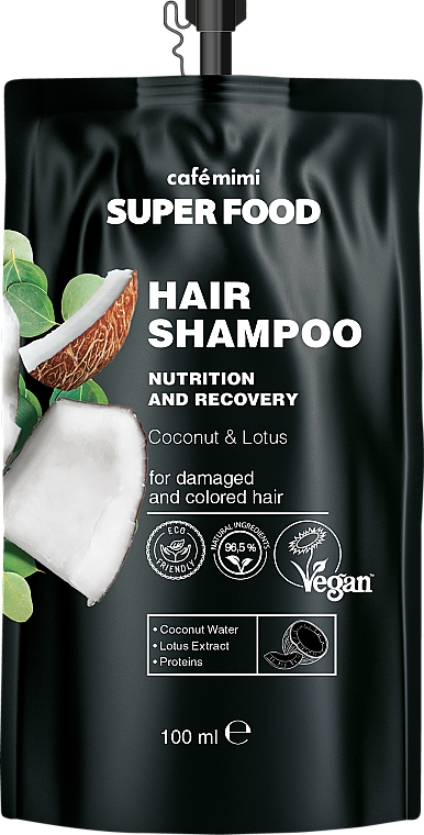 Coconut & Lotus Shampoo for Damaged & Colored Hair - Cafe Mimi Super Food Shampoo